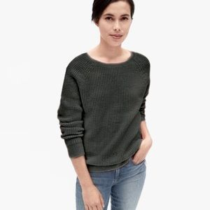 GAP Wool Blend Waffle Knit Pullover Sweater